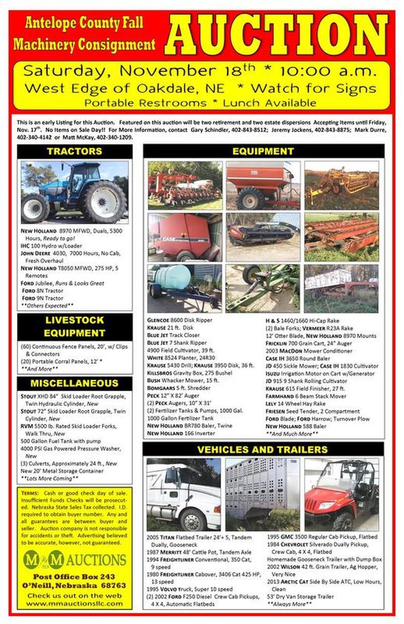 Nov 18th-Farm Equipment Auction - M&M Auctions LLC
